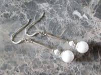 Bright White Agate & Sterling Silver Earrings With Swarovski Crystals | Silver Sensations